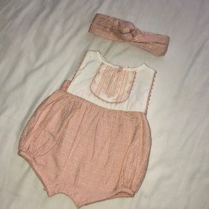 Adorable baby girl romper with matching headband